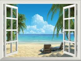3d Fake Window View Summer Beach Wall Sticker Decal Home Office Decor 51 72cm For Sale Online