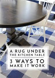 a rug under the kitchen table