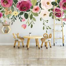 Jessica S Farmhouse Watercolor Flowers Wall Decal Mural Motomoms Decor