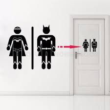 Waliicorners Removable Home Decor Toilet Bathroom Door Decal Superman And Super Girl Wc Sign Vinyl Sticker Toilet Ay1180 Waliicorner S Store
