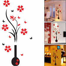 3d Home Decor Diy Plum Vase Wall Stickers Home Decor Creative Wall Decals Living Room Entrance Painting Flowers For Room On Sale Flower Event Painting For Living Roomflower Cuff Aliexpress