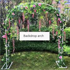 artificial flowers arch wrought iron