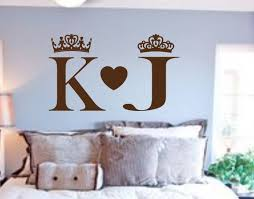 King And Queen Wall Decals Bedroom Wall Art His And Hers Couples Wall Art Monogram Decal Name Wall Decal King Queen Decor Wall Decor