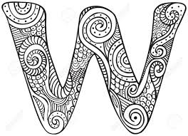 Hand Drawn Capital Letter W In Black Coloring Sheet For Adults