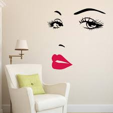 Diy Beautiful Face Eyes And Lips Wall Art Sticker 8469 Painting Room Home Decoration Finished Size 70 57cm Wall Art Stickers Home Decorart Wall Sticker Aliexpress