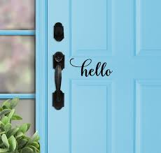 Hello Vinyl Decal Hello Vinyl Door Decal Hello Door Sign Etsy