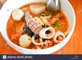 noodle seafood soup bowl chilli paste ...