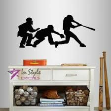 Vinyl Decal Baseball Catcher Batter Umpire Players Sports Boy Wall Sticker 2378 Ebay
