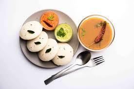 rice idli sambar coconut chutnry