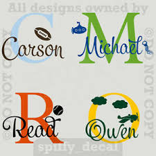 Monogram With Graphic Personalized Name Vinyl Wall Decal Sticker Boys Nursery Ebay