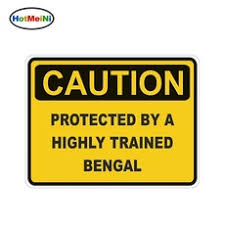 Hotmeini 13 10cm Caution Protected By Bengal Warning Funny Car Sticker Cat Pet Decal Vinyl Car Styling Body Decals Accessories Wish