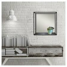 wall mirror with shelf in black