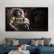 2020 Watercolor Astronaut Monkey Wall Art Canvas Prints Abstract Animals Art Canvas Paintings Wall Decor Pictures For Kids Room From Mudanflower 24 46 Dhgate Com