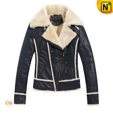 womens blue wool lined leather jackets