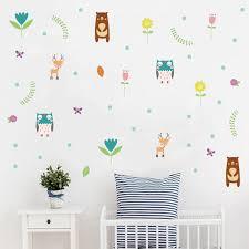Woodland Bear Deer Diy Wall Decals For Kids Room Jungle Friend Animals Vinyl Wall Sticker Nursery Wall Art Baby Room Home Decor Wall Stickers Aliexpress