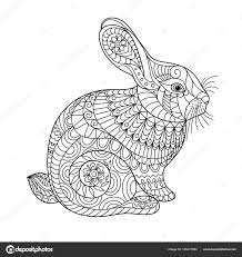 Rabbit Coloring Page Adult Children Creative Cute Bunny Black