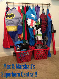 Superhero Dress Up Area Using Rod And Hooks From Ikea Wall Hanging System Only Cost Like 15 Bucks Total Kids Can Ge Dress Up Area Superhero Room Boys Playroom