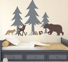 Woodland Wall Decal Woodland Nursery Forest Pine Trees Deer Etsy