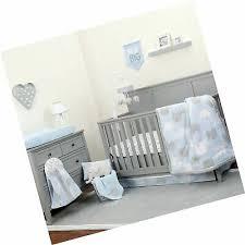 nursery crib bedding set blue grey