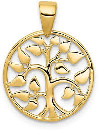 jewelry 14k yellow gold heart leaf tree