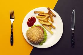 Download Top View Burger With French Fries On A Plate for free in ...