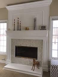 fireplace refacing herringbone tile