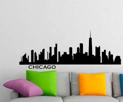 Chicago Skyline Wall Decal Vinyl Stickers City Silhouette Wall Etsy Wall Murals Bedroom Vinyl Wall Decals Silhouette Wall Art