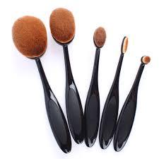 5 piece oval best makeup brushes set