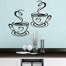 Coffee Cups Cafe Tea Vinyl Decal Restaurant Kitchen