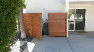 Modern Horizontal Wood Fence With A Matching Double Swinger Pedestrian Gate Pool Equipment Enclosure 2 Built And Stained By Woodfenceexpert Com Blog Woodfenceexpert Com