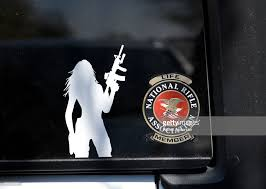 Decals On A Female Gun Owner S Rear Car Window Indicates She Is A News Photo Getty Images