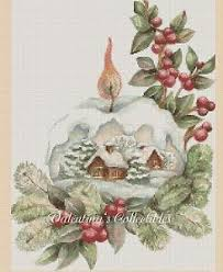 snow globe scene counted cross stitch