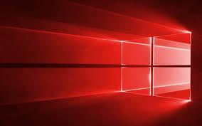 تحميل خلفيات ويندوز 10 النيون الحمراء شعار ويندوز نظام التشغيل