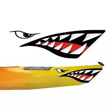 Waterproof Shark Eyes And Teeth Mouth Vinyl Decal Stickers For Car Kayak Canoe Dinghy Boat Decoration Car Stickers Aliexpress