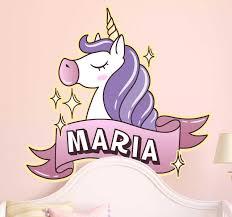 Personalised Kids Name Unicorn Wall Sticker Tenstickers