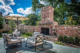 fire pit red brick outdoor patio