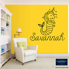 Mermaid Unicorn W Name Custom Wall Vinyl Decal Sticker 22 Tall Removable Color Ebay