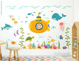 Submarine Wall Decal Under The Sea Wall Decal Monkey And Etsy