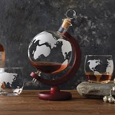 etched globe whiskey decanter glass