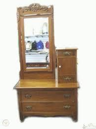 antique oak hatbox dresser w beveled