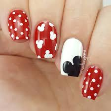 Polka Dot Mickey Mouse Nails | Disney nails, Mickey nails, Nail ...