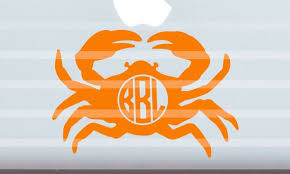 Crab Monogram Vinyl Decal Computer Decal Car Decal Phone Case Etsy