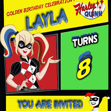 Working On Layla Harley Quinn Birthday Invitation Fiesta De