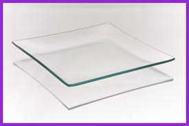 6 square shallow clear glass plate