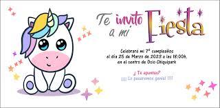 Invitacion De Cumpleanos De Unicornio