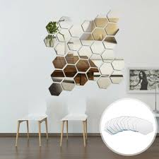 48pcs Mirror Hexagon Vinyl Removable Wall Sticker 3d Decal Home Decor Art Diy For Sale Online