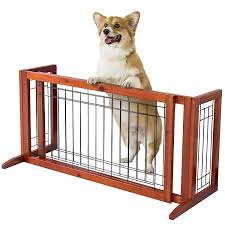 Pet Fence Gate Free Standing Adjustable Dog Gate Indoor Solid Wood Construction Amazon In Baby