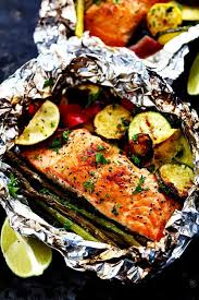 grilled lime er salmon in foil with