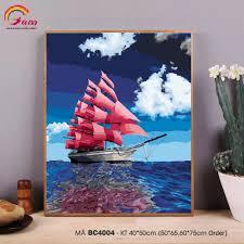 Tranh tự tô màu theo số sơn dầu số hóa Gam Thuyền buồm Thuận buồm xuôi gió  BC4004