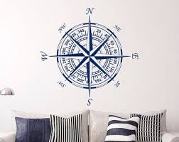 Compass Wall Decal Vinyl Stickers Nautical Decor Nautical Compass Rose Wall Decals For Living Room Bed Nautical Living Room Nautical Wall Decor Nautical Decor